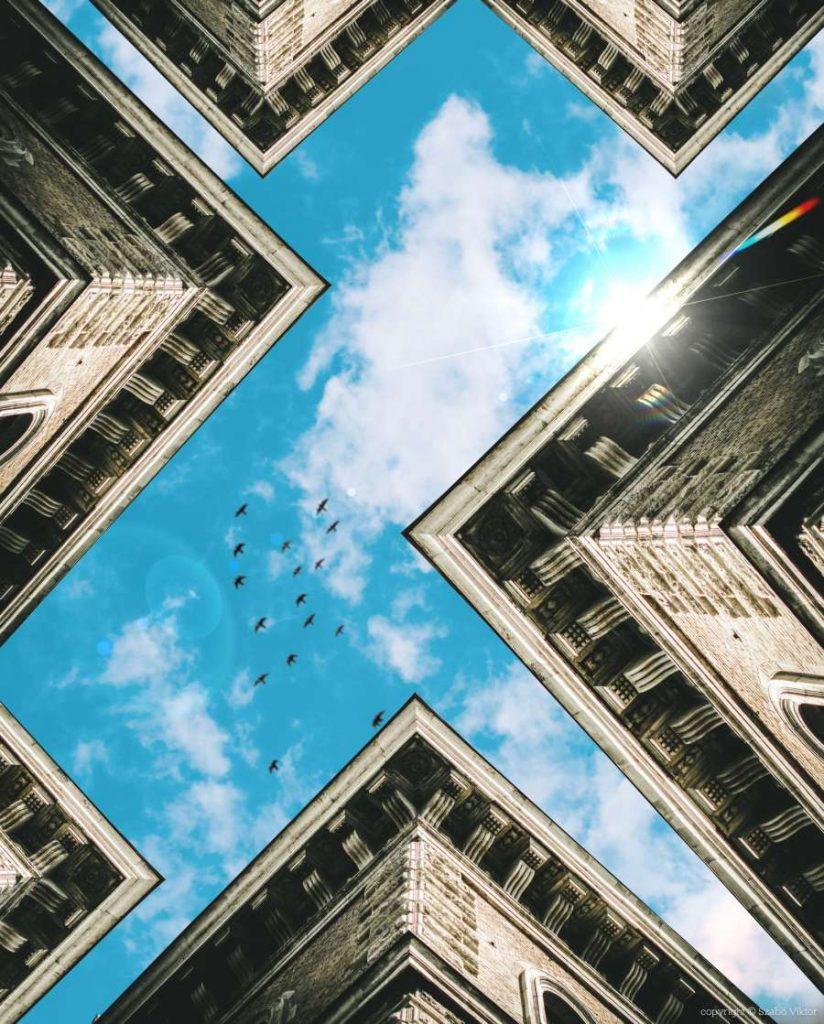 Szabó Viktor fotós által készített manipulált épületfotó. A fotó címe: Dreams és a fotó a Future breath fotósorozat tagja.