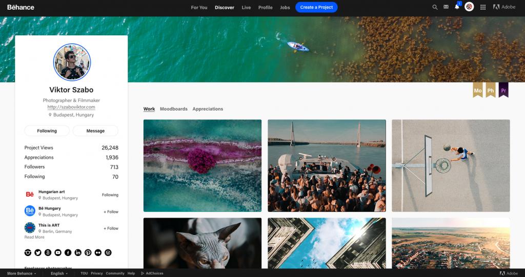Így néz ki a Behance profilom. Nem kifejezetten fotós oldal, de fotósoknak is kiváló és elengedhetetlen.
