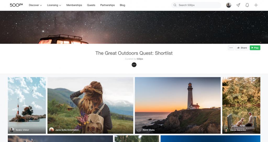 The Great Outdoors Quest: Shortlist 500px galéria ahova bekerült a fotóm