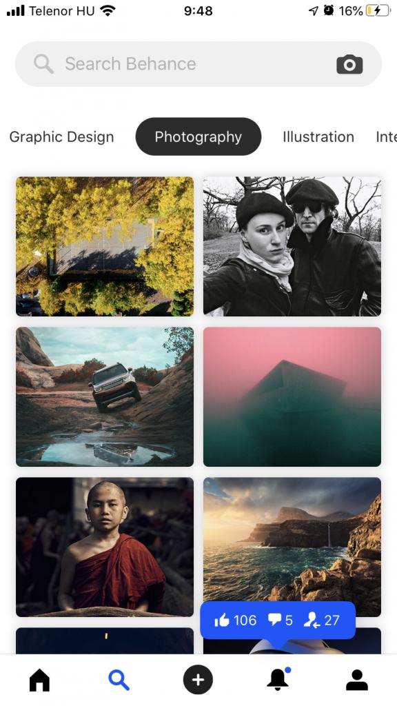 Break out fotósorozat kiemelve a Behance telefonos applikációjában.