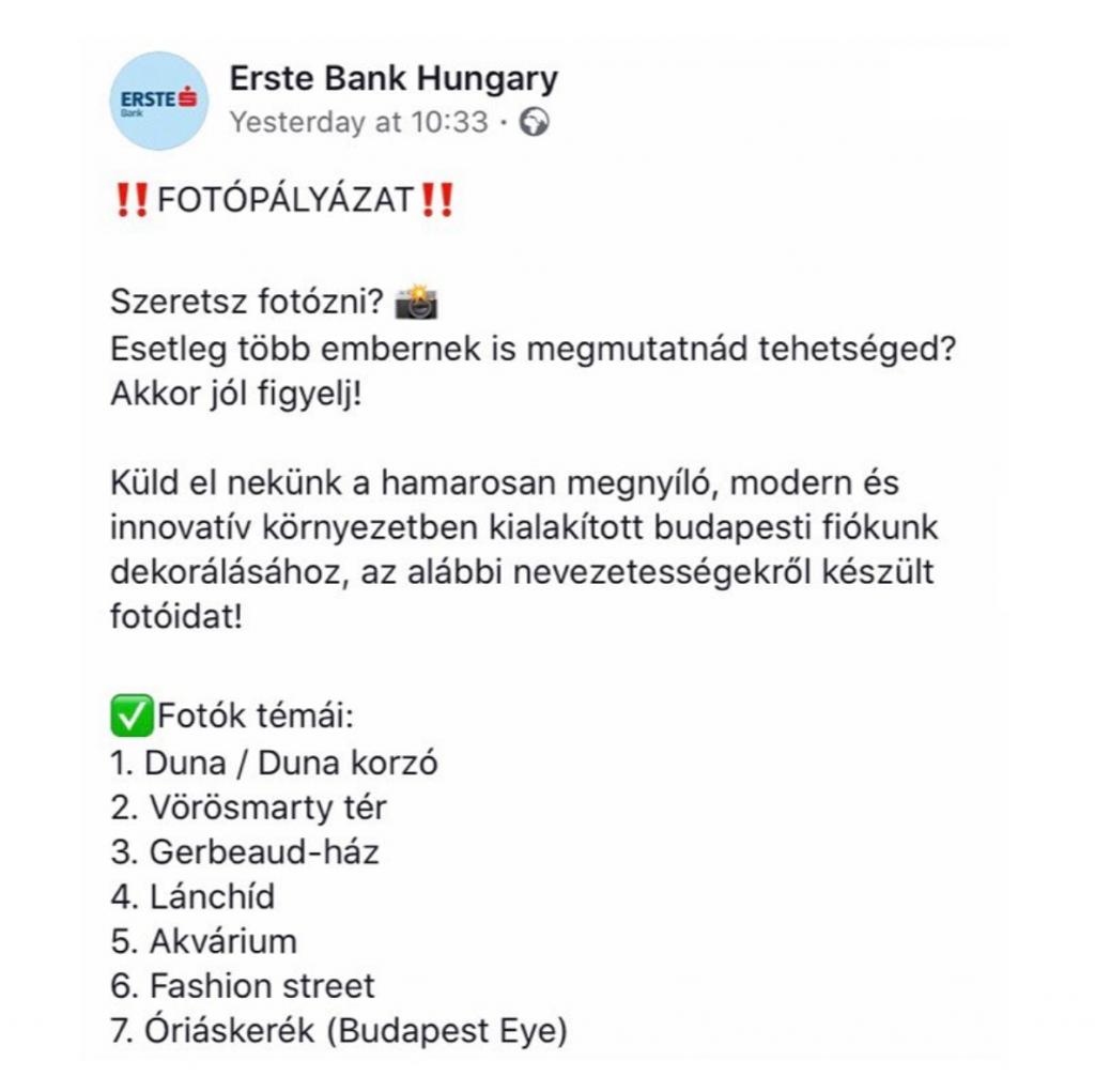 Erste bank fotópályázat