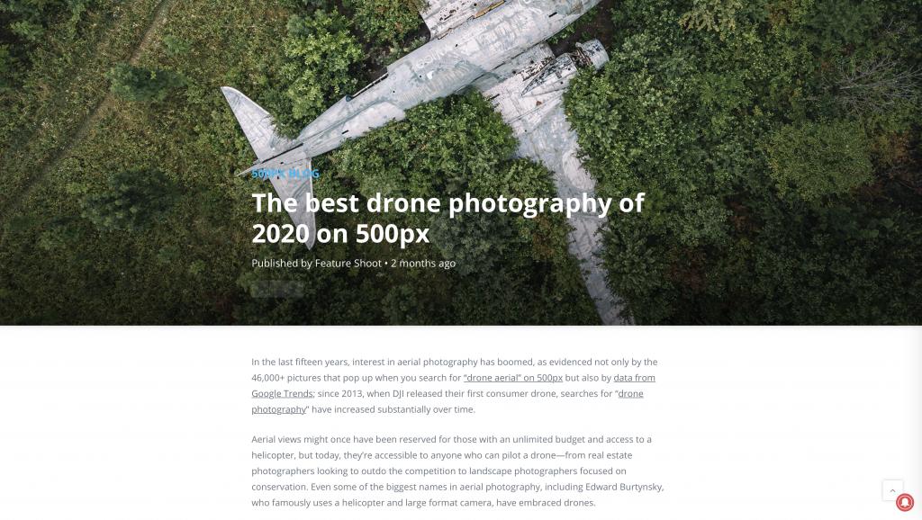 2020 legjobb drónfotói cikk az 500px oldalán