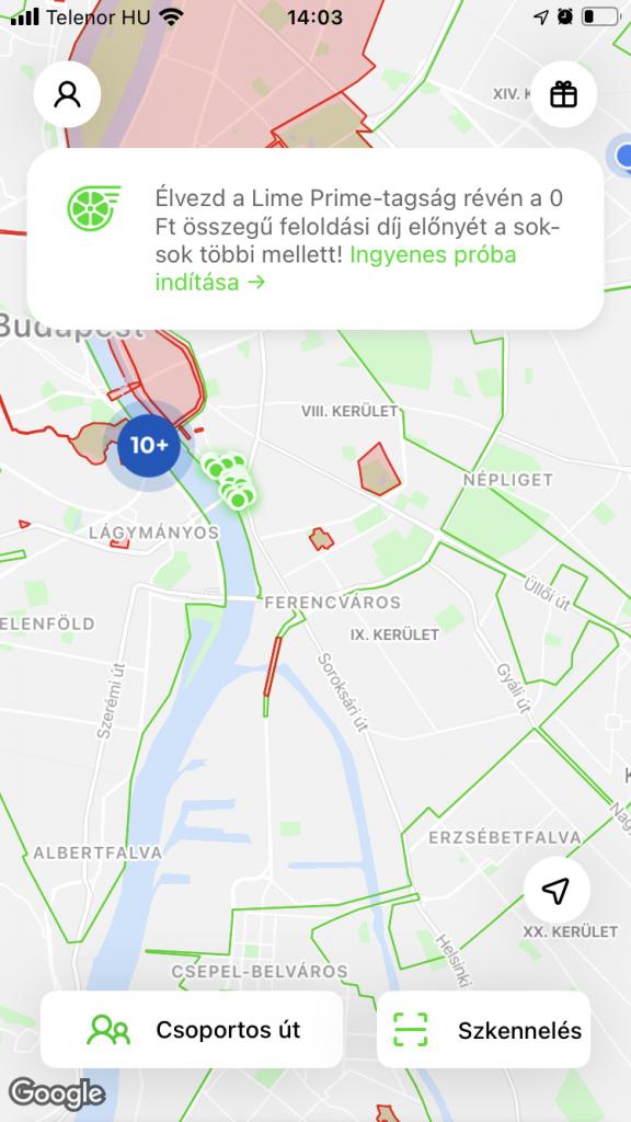 Vannak helyek ahol nem hagyhatod ott a rollert, ezek a vörös zónák, illetve van sok olyan zóna ahol kialakítottak parkolókat.
